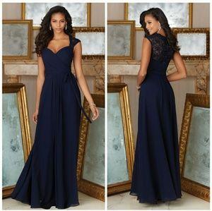 Morilee   Chiffon & Lace beaded wrap style dress